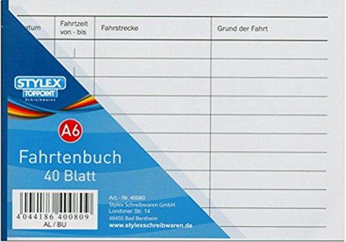 Toppoint 5 Fahrtenbücher DIN A6 Stylex Fahrtenbuch 40 Blatt