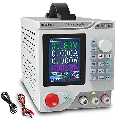DC Power Supply Variable 30V/10A, Adjustable Switching Regulated Power Supply with 3.5 Inch TFT Color Display Alligator Leads, Shortcut Parameter Storage, PC Software, USB Interface for Lab Equipment
