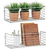 mDesign Juego de 2 estantes de metal para baño, cocina, pasillo o lavadero – Estante de pared ancho en alambre de metal – Cestas de rejilla compactas – plateado