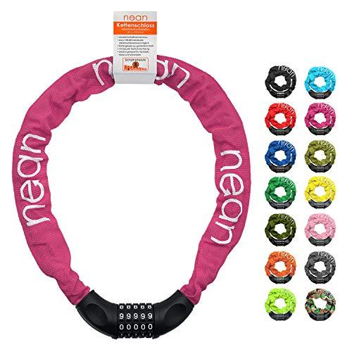 nean Fahrradschloss mit Zahlen und hoher Sicherheitsstufe, Fahrrad-Ketten-Schloss, Zahlen-Code-Kombination-Schloss, gehärtete Stahlkettenglieder, 6 mm x 900 mm, Pink