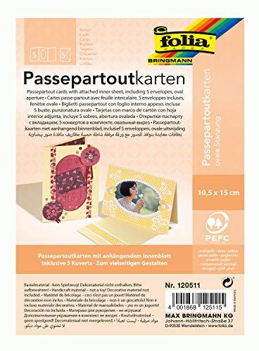 folia 120511 - Passepartouts mit ovaler Stanzung, ca. 10,5 x 15 cm, 5 Karten (220 g/qm) und Kuverts, strohgelb - ideal für Einladungen, Glückwunsch- oder Grußkarten