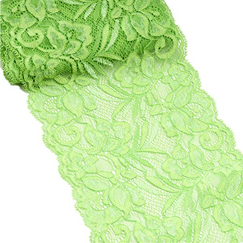 5 Yards Floral Lace Ribbon Stretch Tulle Lace Trim Elastic Webbing Fabric for DIY Jewelry Making Craft Clothes Accessories Gift Wrapping Wedding Party Decoration (Lime Green)