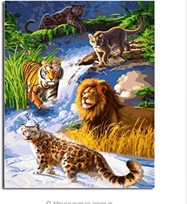 LIWEIXKY Bild Moderne Bilder Malen Nach Zahlen DIY Ölgemälde Auf Leinwand Home Decor Von Tier - Mit Rahmen - 40x50cm B07PS92QRD | Verschiedene