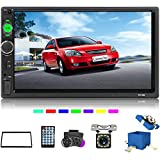 Camecho Double Din Car Stereo with Bluetooth 7' HD Touch Screen car Radio Support USB/FM/TF/Aux in/MP5 Multimedia + Mobile Phone Mirror Link (Only Used in Android) + with SWC& Backup Camera
