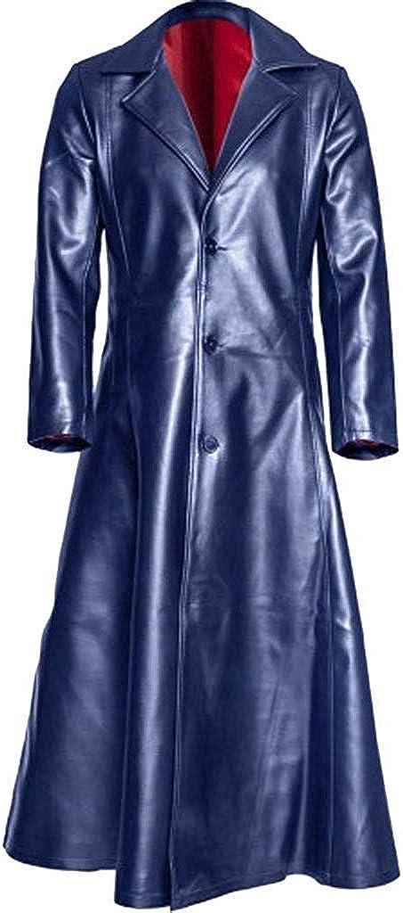 Berrykey Casual Men Leather Trench Coat Gothic Long Coat Button Windbreaker Waterproof Rain Jacket