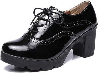 c3be1082 Women Oxford Zapatos clásicos Tacones de tacón Grueso Bombas Brogues Zapatos  Casuales Plataforma Corte Zapatos