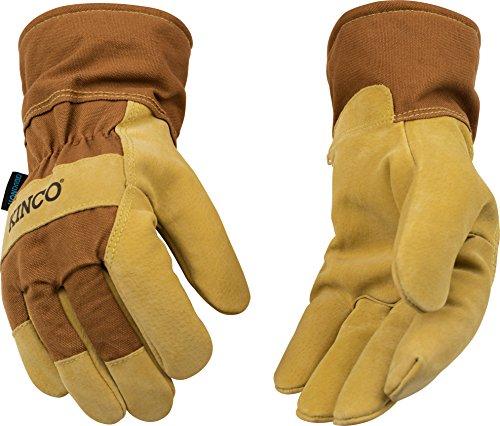 Kinco gefüttert Wildleder Schweinsleder Handschuhe, Medium, braun, 1