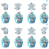 Morofme 48pcs Blue Elephant Cupcake Toppers, Double Sided It is A Boy...
