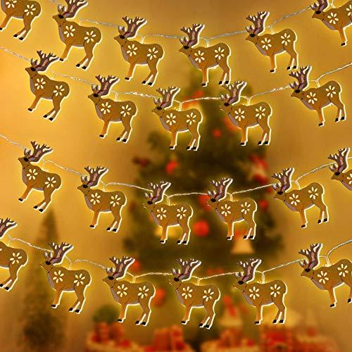 Gxhong Weihnachten Lichterketter, Weihnachten Lichter, 10 LED Gelber Elch Beleuchtung, Christmas Lichterketten, für Party, Garten, Weihnachten, New Year, Hochzeit, Beleuchtung Deko