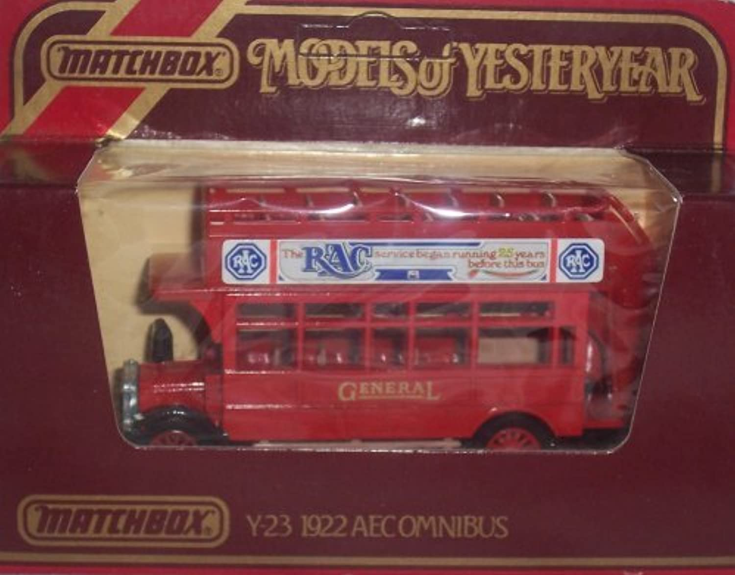 Matchbox Models of Yesteryear Y-23 1922 Aecomnibus RAC 1 72 Scale Diecast by Matchbox