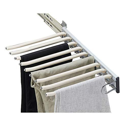 XYL Pantalonero Extraible, Organizadores de Ropa para Armario Perchero Extensible para Pantalones, Riel Deslizante de Almacenamiento de Bufanda extraíble, Los 46x34cm