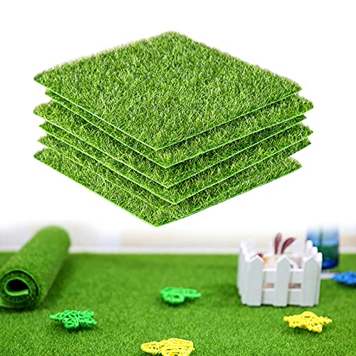 6 Stück Künstliche Grasmatte Kunstrasen Künstliche Moos Miniatur Moos Gras Simulation Gras Rasen 15x15cm Deko Kunstrasen