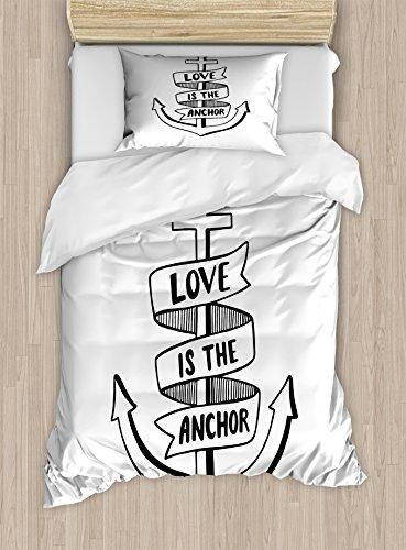 Anchor Funda de edredón Set por Ambesonne, hechos a mano de color madera con motivos de amor es la cita de anclaje y corazón, juego de cama con almohada decorativa, color negro y blanco