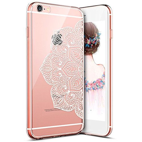kompatibel mit iPhone 7 Hülle,iPhone 8 Hülle,Bunte Gemalte Muster Durchsichtige TPU Silikon Schutz Handy Hülle Silikon Handytasche Transparente Schutzhülle für iPhone 8/7,Weiße Henna Mandala Blume