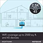 NETGEAR Nighthawk X4S Smart WiFi Router (R7800) - AC2600 Wireless Speed (up to 2600 Mbps) | Up to 2500 sq ft Coverage… 11 Fast wifi performance: Get up to 2500 square feet wireless coverage with AC2600 speed (Dual band up to 800 + 1733 Mbps). WiFi Band-Simultaneous Dual Band WiFi - Tx/Rx 4x4 (2.4GHz)+ 4x4 (5GHz) Recommended for up to 45 devices: Reliably stream videos, play games, surf the internet, and connect smart home devices. Wired Ethernet ports: plug in computers, game consoles, streaming players, and other nearby wired devices with 4 x 1 gigabit Ethernet ports.