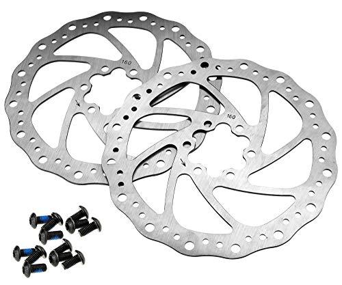 2 x Scheibenbremse 160 mm Fahrrad MTB Fahrrad Scheibenbremse Rotor Bremsbelag mit 6 T25 Schrauben