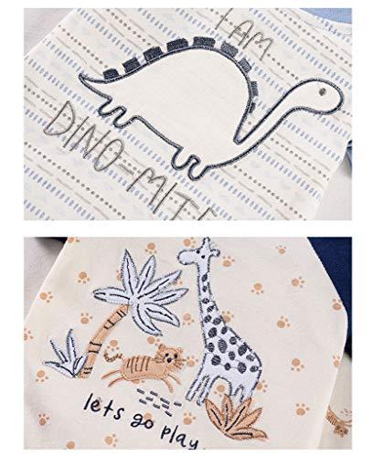 Pack de 2 Bebé Niño Mono de Manga Corta Mameluco de Algodón Body de Dibujos Animados Lindo Peleles Comodo Pijama Regalo de Recien Nacido, 0-3 Meses