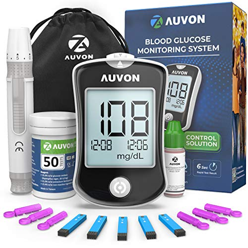 AUVON DS-W Glucose Monitor, Blood Sugar Test Kit, Diabetes Testing Kit, High-Accuracy Glucometer with Control Solution, 50 Test Strips, 50 30G Lancets, Lancing Device, Code Free (Model: Enhance)