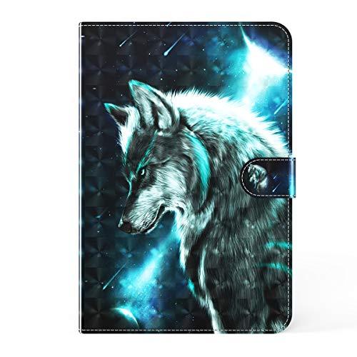 LMFULM® Hülle für Lenovo Tab P10 TB-X705 / M10 TB-X605F (10,1 Zoll) PU Lederhülle Smart Hülle mit Ständer Schutzhülle Flip Cover 3D Wolf