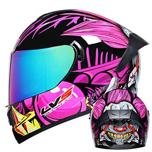 ICENCREN Motocross Kinder Kinderhelme ECE - YEMA Jugend Quad Crash-DH Full Face Off Road Downhill Dirt Bike MX ATV Motorradhelm Für Jungen-Mädchen,Puple style2,M