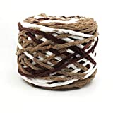OQIU DIY Chunky Chenille Yarn Skein DIY Warm Sewing Crochet Thick Plush Knitting Rope Chenille Yarn Velvet Thread Baby Cord(Camel&White)