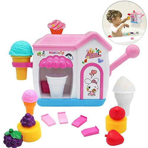 Auggie BathToysfor Toddlers FoamMakerBathtub IceCream Bubble PretendCakePlaySet Tub Water Bathtime Toys GiftforGirlsBoys KidsAge345 YearsOld