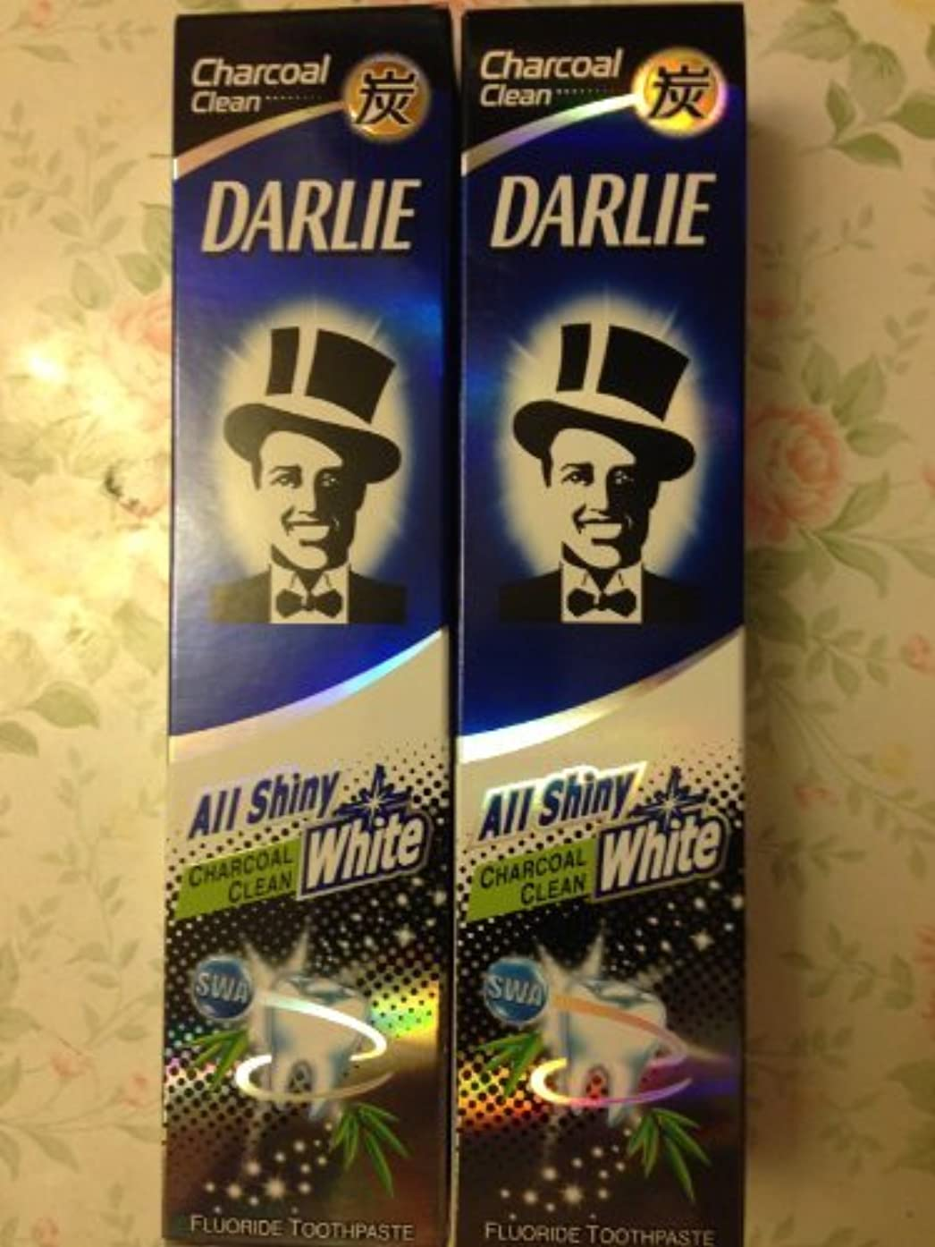 防ぐ乱暴なラバ2 packs of Darlie Charcoal All Shiny Whitening Toothpaste by Darlie