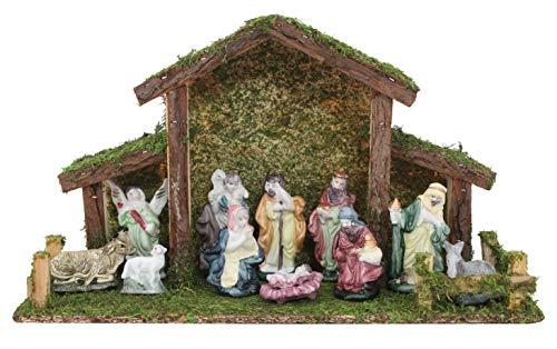 Toyland® Crèche de Noël Traditionnelle - Étable avec 11 Personnages de la Nativité - Décorations de Noël
