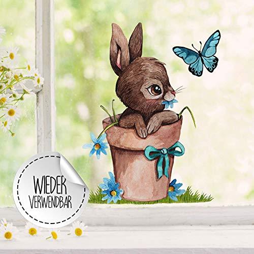 Fensterbilder Fensterbild Fuchs Reh & Hasen mit Pusteblume Osterkorb Ostern wiederverwendbar Fensterdeko bf32 - ausgewählte Farbe: *bunt* ausgewählte Größe: *5. Hase im Blumentopf*