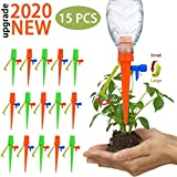 【Upgraded Version 】 15 Pcs Plant Watering Devices, Automatic Plant Waterer Self Watering Drip Irrigation Spikes Device with Slow Release Control Switch and Bracket Support for Outdoor Indoor