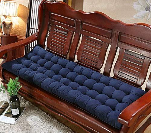 Cojín de banco largo grueso, almohadilla de asiento suave y cómoda con lazos de fijación, cojín de silla de columpio para patio al aire libre, alfombrilla de asiento de madera lavable de repuesto