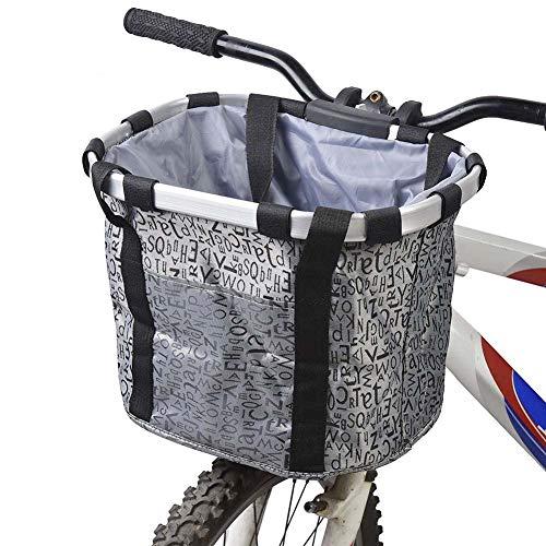 Rziioo Canasta para Bicicleta, Canastilla para Manillar de Bicicleta Plegable pequeña para Mascotas,D