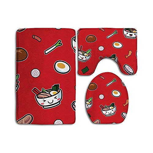 3-teiliges Badezimmerteppich-Set – rutschfester WC-Vorleger für Dusche, Spa – japanische Lebensmittel, handgezogene Nudeln, rot