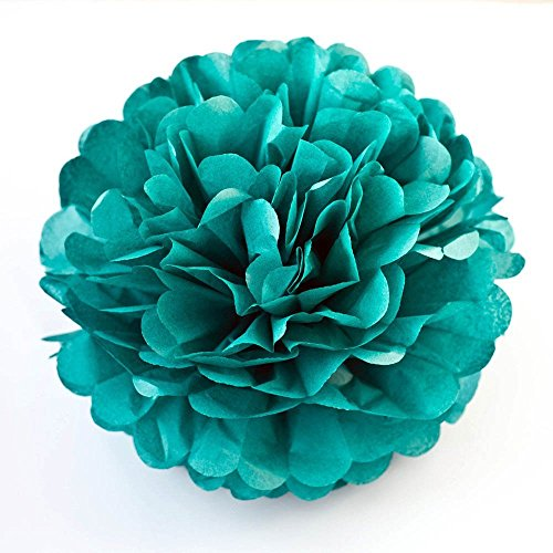 LG-Free 8inch 10inch 12inch Paper Pom Poms Decorative Paper Flower Hanging Rose Flower Balls DIY Paper Handmade Craft for Wedding,Baby Shower,Birthday,Party Decorations,Home Decor (10pcs, Teal)