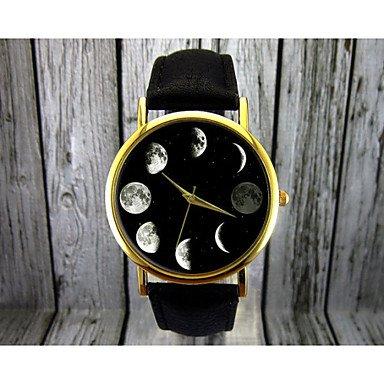 XKC-watches Herrenuhren, Mondphase Uhr, Astronomie Uhr, Raum Uhr, Damenuhr, Herrenuhr, Geschenkidee, benutzerdefinierte Uhr, Mode-Accessoire (Farbe : Schwarz, Großauswahl : Für Damen-Einheitsgröße)
