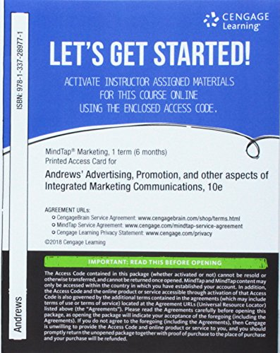 MindTap Marketing, 1 term (6 months) Printed Access Card for Andrews/Shimp's Advertising, Promotion and other aspects of