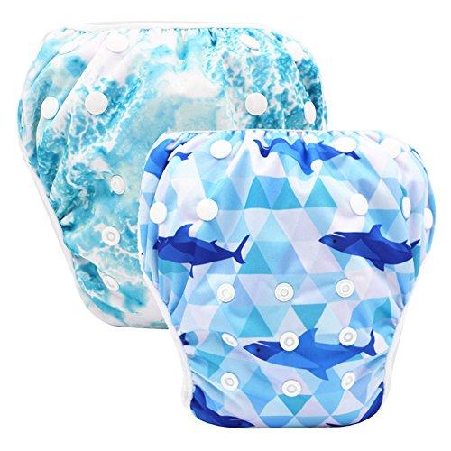 Storeofbaby Lot de 2 couches de bain réutilisables étanches pour bébé de 0 à 36 mois unisexe Skyblue Deepblue taille unique