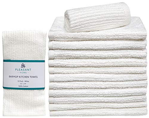 Pleasant Home Barmop Kitchen Towel 12 Pack  16 x 19 Ultra Absorbent Cotton Kitchen Cleaning TowelsQuick Drying Barmop Towels - White