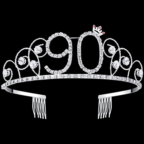 BABEYOND Crystal Birthday Tiara Crown Princess Birthday Crown Hair Accessories Happy 90th Birthday Crown Tiara for Women (90 Birth)