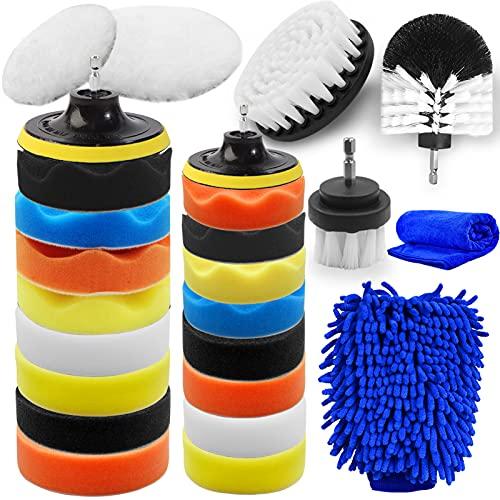 "Jaronx 27PCS Car Polishing Pad Kit, 10pcs 4"" and 10pcs 3"" Car Foam Buffing Pads, Car Polisher Kit Car Drill Polishing Kit with Car Detailing Drill Brushes, Car Washing Mitt, Car Cleaning Towel"