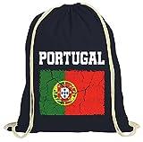 ShirtStreet Fußball WM Fanfest Gruppen Trikot Fan natur Turnbeutel Rucksack Gymsac Wappen Portugal, Größe: onesize,dunkelblau natur