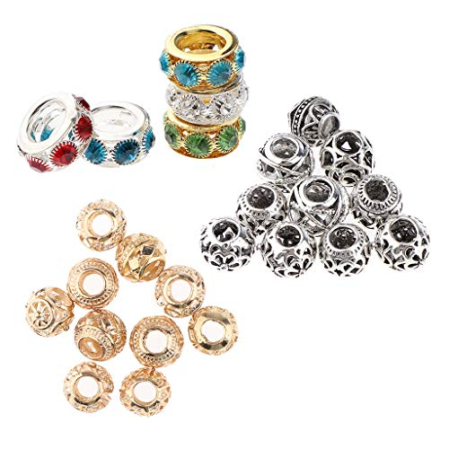 F Fityle 25 Unids/Pack de Cuentas de Pelo de Rastas de Metal Ahuecadas con Diamantes de Imitación para Trenzar Joyería Que Hace Colgantes de Pulsera DIY