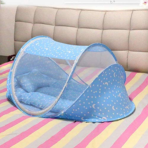 gengxinxin Moustiquaire De Lit De Lit Moustiquaire Universelle pour Lit À Installation Facile Portable Mosquito Net with Pillow for 0-2 Years Boys and Girls-Blue 106x60x57cm (42x24x22inch)