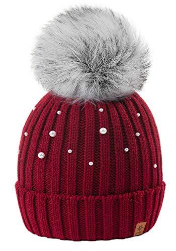 4sold Rita Kinder Wurm Winter Style Beanie Strickmütze Mütze mit Fellbommel Bommelmütze HAT SKI Snowboard (Star 2 Burgund)