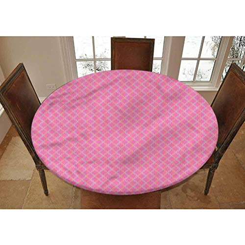 LCGGDB Modern Elastic Edged Polyester Fitted Tablecolth -Floral Circular Shapes- Small Round Fitted Table Cover - Fits Tables up to 40-44' Diameter,The Ultimate Protection for Your Table