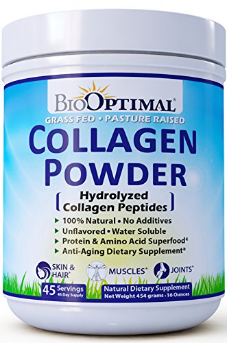 BioOptimal Collagen Powder - Collagen Peptides, Grass Fed, for Skin, Hair, Nails & Joints, Collagen Supplements for Women & Men, Pasture Raised, Dissolves Easily, 16 Ounces (16 Ounce)