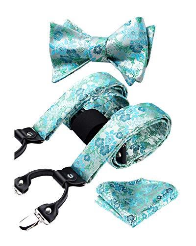 HISDERN Hosenträger für Herren Einstellbar und Elastisch Y Style Paisley fliege Taschentuch Set