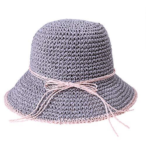 SLGOVCOA Sonnenhut für Frauen Strandhut Sommer Frauen Einfarbige Sonnenhüte Hüte Mit Breiter Krempe Sunshade Manuell Häkeln Zusammenklappbare Fischer Beach Seaside Hat