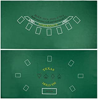 Brybelly Blackjack & Texas Hold 'Em Felt Mat – 2-in-1 Gaming Table Top for Poker Games & Blackjack -Casino-Style, Spill-Proof Layout Cloth Card Table