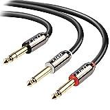 6.35mm Mono Audio Kabel, J&D Gold-Plated 2 x 6.35mm (1/4 Zoll) TS Mono Audio Kabel mit Zink Alloy Gehäuse und Nylon Braid für iPhone, iPad, iPod, Laptop, Heimkino Geräte, Verstärker -...